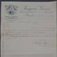 Cartas comerciales: JOAQUIN GOMEZ. FÁBRICA DE BARNICES Y SECANTES. BARCELONA. ESPAÑA 1907. Lote 277202548