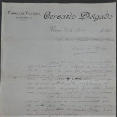 Cartas comerciales: CERVASIO DELGADO. FÁBRICA DE FUSTERÍA. VITORIA. ESPAÑA 1913. Lote 277202593