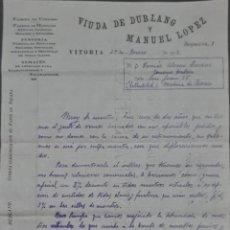 Cartas comerciales: VIUDA DE DUBLANG Y MANUEL LÓPEZ. FÁBRICA DE CURTIDOS. VITORIA. ESPAÑA 1913. Lote 277202613