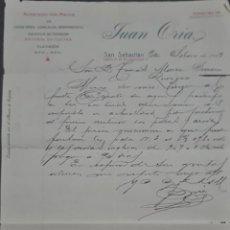 Cartas comerciales: JUAN ORIA. ALMACÉN POR MAYOR DE FERRETERÍA, QUINCALLA Y HERRAMIENTAS. SAN SEBASTIÁN. ESPAÑA 1913. Lote 277202638