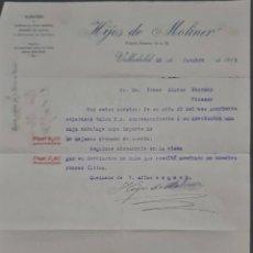 Cartas comerciales: HIJOS DE MOLINER. ALMACÉN DE QUINCALLA, LOZA Y CRISTAL. VALLADOLID. ESPAÑA 1913. Lote 277202753