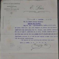 Cartas comerciales: E. LUIS. FÁBRICA DE TELAS METÁLICAS Y SOMIERS. VALENCIA. ESPAÑA 1913. Lote 277202763