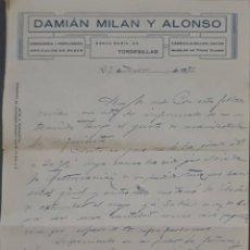 Cartas comerciales: DAMIÁN MILÁN Y ALONSO. DROGUERÍA T PERFUMERÍA. TORDESILLAS. ESPAÑA 1929. Lote 277202823