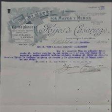 Cartas comerciales: HIJOS DE CASARIEGO. ALMACÉN POR MAYOR Y MENOR. VIDRIOS PLANOS. VALLADOLID. ESPAÑA 1929. Lote 277202863
