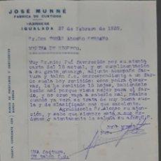 Cartas comerciales: JOSÉ MUNNÉ. FÁBRICA DE CURTIDOS. IGUALADA. ESPAÑA 1929. Lote 277202953