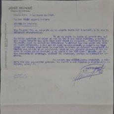 Cartas comerciales: JOSÉ MUNNÉ. FÁBRICA DE CURTIDOS. IGUALADA. ESPAÑA 1929. Lote 277202973