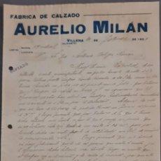 Cartas comerciales: AURELIO MILÁN. FÁBRICA DE CALZADO. VILLENA. ALICANTE. ESPAÑA 1921. Lote 277638113