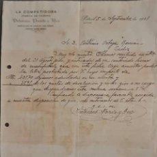 Cartas comerciales: VICTORIANO POVEDA Y RICO. LA COMPETIDORA. FÁBRICA DE CALZADO. PETREL. ALICANTE. ESPAÑA 1921. Lote 277638143