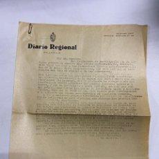Cartas comerciales: CIRCULAR DEL DIARIO REGIONAL DE VALLADOLID Y PLANO CON HUECOS DE ANUNCIOS PARA Nº EXTRAORDINARIO. Lote 278163138