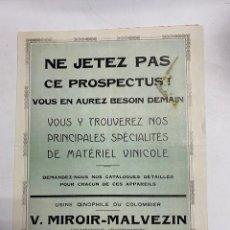 Cartas comerciales: CIRCULAR Y CATALOGO PUBLICITARIO V. MIROIR-MALVEZIN. FRANCIA - CAUDERAN, 1928. VER FOTOS. Lote 278174898