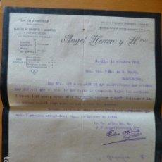 Cartas comerciales: CANDAS ASTURIAS FABRICA DE ESCABECHES LA INVENCIBLE ANGEL HERRERO CARTA COMERCIAL 1912. Lote 278477383
