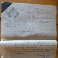 Cartas comerciales: VALENCIA FABRICA DE GUITARRAS DE ANDRES MARIN FACTURA 1912. Lote 278477433