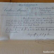 Cartas comerciales: VALENCIA FABRICA DE GUITARRAS DE ANDRES MARIN MEMORANDUM 1912. Lote 278477448