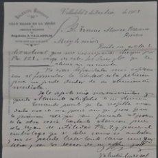 Cartas comerciales: VALENTÍN CADEROT. GRAN BAZAR DE LA UNIÓN. ARTÍCULOS RELIGIOSOS. VALLADOLID. ESPAÑA 1905. Lote 278641333