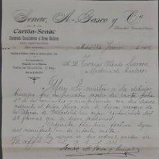 Cartas comerciales: SENAC. A.-GASCO Y Cª. DECORADO ESCULTORICO A GRAN RELIEVE. MADRID. ESPAÑA 1905. Lote 278641363
