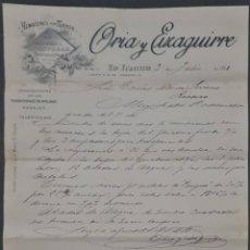 Cartas comerciales: ORIA Y EIZAGUIRRE. ALMACENES POR MAYOR. SAN SEBASTIÁN. ESPAÑA 1911. Lote 278641383