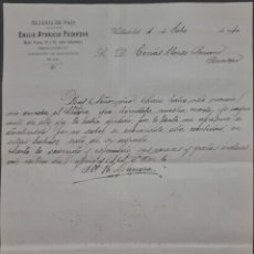 Cartas comerciales: EMILIO APARICIO PEINADOR. SILLERÍA DE PAJA. VALLADOLID. ESPAÑA 1910. Lote 278641393