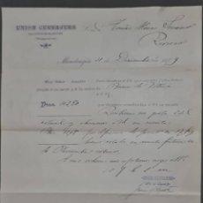 Cartas comerciales: UNIÓN CERRAJERA S.A. MONDRAGÓN. ESPAÑA 1909. Lote 278641408