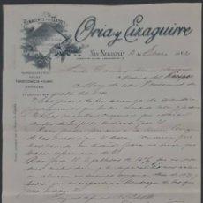 Cartas comerciales: ORIA Y EIZAGUIRRE. ALMACENES POR MAYOR. SAN SEBASTIÁN. ESPAÑA 1910. Lote 278641418