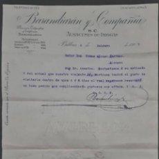 Cartas comerciales: BARANDIARÁN Y COMPAÑÍA. GRANDES ALMACENES DE DROGAS Y PRODUCTOS FARMACÉUTICOS. BILBAO. ESPAÑA 1907. Lote 278641438