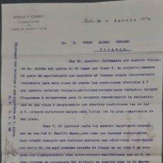 Cartas comerciales: AYALA Y COMP. FABRICANTES DE CAMAS DE HIERRO Y LATÓN. BILBAO. ESPAÑA 1907. Lote 278641468