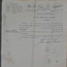 Cartas comerciales: HIJO DE FÉLIX R. REGADERA. FERRETERÍA. VALLADOLID. ESPAÑA 1926. Lote 278641478