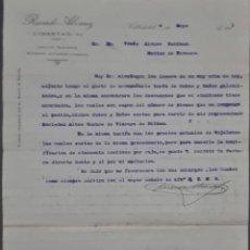 Cartas comerciales: RICARDO ALVAREZ. VALLADOLID. ESPAÑA 1911. Lote 278641498