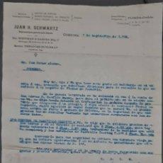 Cartas comerciales: JUAN H. SCHWARTZ. MÁQUINAS AGRÍCOLAS Y PIEZAS DE RECAMBIO. CÓRDOBA. ESPAÑA 1912. Lote 278641513
