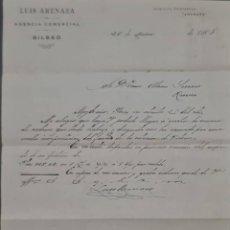 Cartas comerciales: LUIS ARENAZA. TALLER DE FORJA. BILBAO. ESPAÑA 1908. Lote 278641548