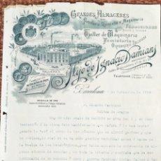 Cartas comerciales: CARTA COMERCIAL ALMACEN FERRERTERIA HIJO DE IGNACIO DAMIANS - BARCELONA 1910. Lote 278673618