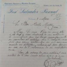 Cartas comerciales: JOSÉ SALVADOR PASCUAL 1915 FACTURA EBANISTERÍA TAPICERÍA Y MUEBLES CURVADOS. Lote 278675593