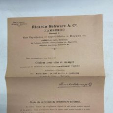 Cartas comerciales: CIRCULAR DE RICARDO SCHWARZ & CO. HAMBURGO, 1892. VER FOTOS. Lote 278702078
