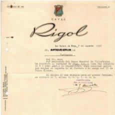 Cartas comerciales: SAN SADURNI DE NOYA / CAVAS RIGOL / CARTA COMERCIAL 1958. Lote 279360388