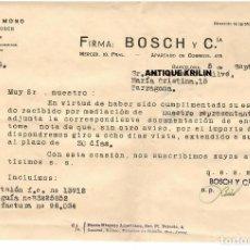 Cartas comerciales: BADALONA / ANIS DEL MONO / VICENTE BOSCH / CARTA COMERCIAL 1958. Lote 279366363
