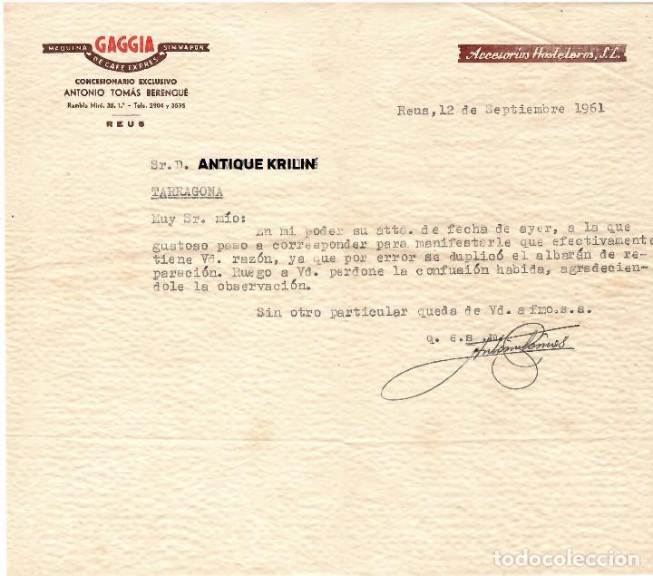 REUS / CONCESIONARIO GAGGIA ANTONI TOMAS BERENGUÉ 1961 (Coleccionismo - Documentos - Cartas Comerciales)
