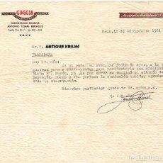 Cartas comerciales: REUS / CONCESIONARIO GAGGIA ANTONI TOMAS BERENGUÉ 1961. Lote 279367123