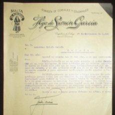 Cartas comerciales: HIJO DE SIMÓN GARCÍA. MALTA LA RIBEREÑA. CEREALES Y COLONIALES DE VEGUELLINA DE ÓRBIGO. 1940.. Lote 284798688