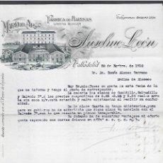 Lettere commerciali: CARTA COMERCIAL. FABRICA DE HARINAS. MARIA DEL ARCO. ANSELMO LEON. 1910. VALLADOLID. Lote 284833593