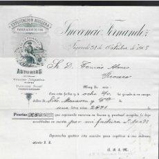 Lettere commerciali: CARTA COMERCIAL. INOCENCIO FERNANDEZ. 1905. EXPLOTACIÓN HULLERA. FIGAREDO. ASTURIAS. Lote 284836443