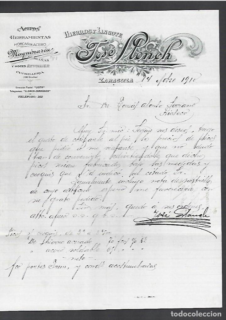 CARTA COMERCIAL. HIERROS Y LINGOTE. JOSE LLONCH. 1910. ZARAGOZA (Coleccionismo - Documentos - Cartas Comerciales)