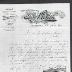 Cartas comerciales: CARTA COMERCIAL. HIERROS Y LINGOTE. JOSE LLONCH. 1910. ZARAGOZA. Lote 284836498