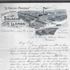 Lettere commerciali: CARTA COMERCIAL. LA FLOR DE PISUERGA. HARINAS. SOLACHE Y LLANOS. 1910. VALLADOLID. Lote 284836558