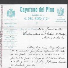 Cartas comerciales: CARTA COMERCIAL. CAYETANO DEL PINO. 1905. JEREZ DE LA FRONTERA. VINOS. Lote 284837253