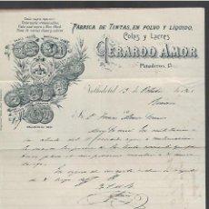 Lettere commerciali: CARTA COMERCIAL. FABRICA DE TINTAS, COLAS Y LACRES. GERARDO AMOR. 1905. VALLADOLID. Lote 284837433