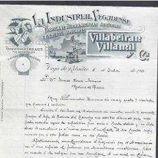 Lettere commerciali: CARTA COMERCIAL. LA INDUSTRIAL VEGADENSE. VILLABEIRAN VILLAMIL Y CIA. 1910. VEGA DE RIBADEO. Lote 284838108