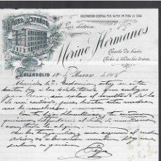 Lettere commerciali: CARTA COMERCIAL. LUZ ELÉCTRICA. CALEFACCIÓN. MERINO HERMANOS. 1908. VALLADOLID. Lote 285034598