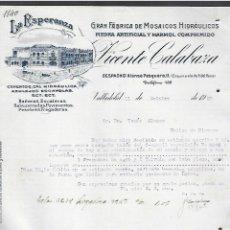 Lettere commerciali: CARTA COMERCIAL. LA ESPERANZA. MOSAICOS HIDRAULICOS. VICENTE CALABAZA. 1927. VALLADOLID. Lote 285035283