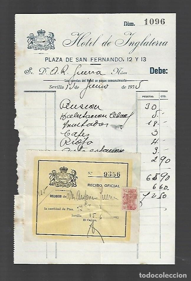 FACTURA. HOTEL DE INGLATERRA. SEVILLA. 1935. (Coleccionismo - Documentos - Cartas Comerciales)