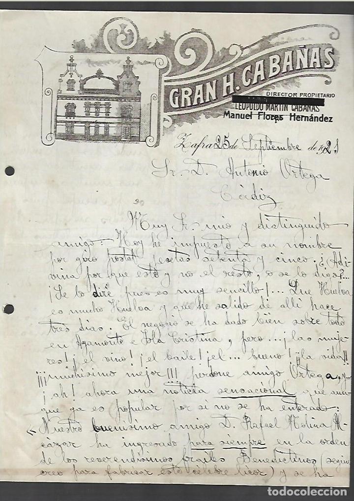 CARTA COMERCIAL. GRAN HOTEL CABAÑAS. MANUEL FLORES HERNANDEZ. 1921. ZAFRA, BADAJOZ (Coleccionismo - Documentos - Cartas Comerciales)