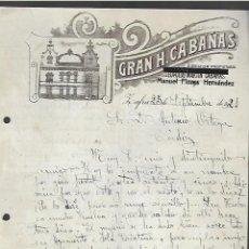 Cartas comerciales: CARTA COMERCIAL. GRAN HOTEL CABAÑAS. MANUEL FLORES HERNANDEZ. 1921. ZAFRA, BADAJOZ. Lote 285206248